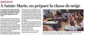 Les classes Classe de Cm2 article Courrier Ouest